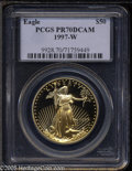 Modern Bullion Coins: , 1997-W G$50 One-Ounce Gold Eagle PR70 Deep Cameo PCGS. Achievingperfection with a remarkable cameo effect overall. No surf...