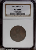 Coins of Hawaii: , 1847 1C Hawaii Cent MS62 Brown NGC. Plain 4, 17 Berries. M. 2CC-3.Well detailed with much faded amber color in the protect...