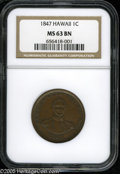 Coins of Hawaii: , 1847 1C Hawaii Cent MS63 Brown NGC. Plain 4, 13 berries. M. 2CC-5.A lustrous golden-brown example with glimpses of olive c...
