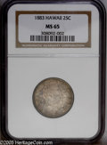 Coins of Hawaii: , 1883 25C Hawaii Quarter MS65 NGC. A lovely, wholly original Gemthat is layered in variegated shades of russet, violet, and...