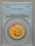 Indian Eagles: , 1926 $10 MS63 PCGS. PCGS Population: (12812/4350). NGC Census: (15682/5257). MS63. Mintage 1,014,000. ...