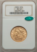 Liberty Eagles, 1890 $10 MS62 NGC. CAC. NGC Census: (53/6). PCGS Population: (102/17). CDN: $800 Whsle. Bid for problem-free NGC/PCGS MS62....