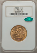 Liberty Eagles, 1891 $10 MS62 NGC. CAC. NGC Census: (225/49). PCGS Population: (159/59). CDN: $760 Whsle. Bid for problem-free NGC/PCGS MS6...