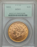 Liberty Double Eagles: , 1893 $20 MS61 PCGS. PCGS Population: (1146/2911). NGC Census: (2165/3399). MS61. Mintage 344,200. ...