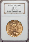 Saint-Gaudens Double Eagles: , 1908-D $20 No Motto MS63 NGC. NGC Census: (1500/657). PCGS Population: (1530/1882). CDN: $1,350 Whsle. Bid for problem-free...