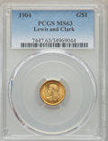 Commemorative Gold, 1904 G$1 Lewis and Clark Gold Dollar MS63 PCGS. PCGS Population:(392/1148). NGC Census: (186/711). CDN: $900 Whsle. Bid fo...