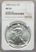Modern Bullion Coins: , 1989 $1 Silver Eagle MS70 NGC. NGC Census: (634). PCGS Population: (54). CDN: $1,452 Whsle. Bid for problem-free NGC/PCGS M...