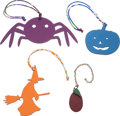 "Luxury Accessories:Accessories, Hermes Set of Four; Multicolor Epsom & Clemence Spider, Witch,Eggplant & Pumpkin Charms. Condition: 2. 6.5"" Width x2... (Total: 4 )"