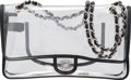 "Luxury Accessories:Bags, Chanel Clear Vinyl & Black Lambskin Leather Single Flap Bag. Condition: 3. 11"" Width x 6"" Height x 3"" Depth. ..."