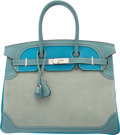 Luxury Accessories:Bags, Hermes 35cm Limited Edition Turquoise Clemence & Ciel EvergrainLeather and Veau Doblis Suede Ghillies Birkin Bag with Palladi...