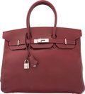 "Luxury Accessories:Bags, Hermes 35cm Rouge H Veau Grain Lisse Leather Birkin Bag withPalladium Hardware. F Square, 2002. Condition: 3.14""..."