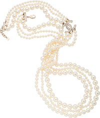 """Chanel Faux Pearl and Crystals Three Stand Necklace Condition: 3 38"""" Length End to End"""