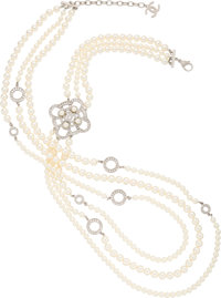 """Chanel Three-Strand Faux Pearl and Crystal Necklace Condition: 2 37.5"""" Length End to End Property of a La"""