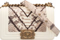 "Luxury Accessories:Bags, Chanel Off-White Python Chevron Stitching Small Boy Bag with Aged Bronze Hardware. Condition: 1. 8"" Width x 5"" Height ..."