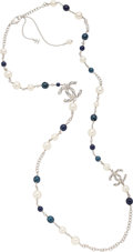 "Luxury Accessories:Accessories, Chanel Faux Pearl, Blue Beads, and Crystals Single Strand Necklace.Condition: 3. 42"" Length End to End. Property of a Lad..."