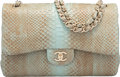 "Luxury Accessories:Bags, Chanel Turquoise Python Jumbo Double Flap Bag with Gold Hardware.Condition: 1. 12"" Width x 8"" Heig..."