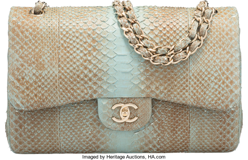 3367979b3921 Chanel Turquoise Python Jumbo Double Flap Bag with Gold