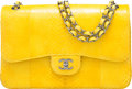 "Luxury Accessories:Bags, Chanel Yellow Python Jumbo Double Flap Bag with Ruthenium Hardware.Condition: 1. 12"" Width x 8"" Height x 3"" Depth. ..."