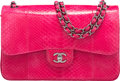 "Luxury Accessories:Bags, Chanel Fuchsia Python Jumbo Classic Double Flap Bag with ShinyRuthenium Hardware. Condition: 1. 12"" Width x 8""Height..."