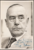 Books:Literature 1900-up, Thomas Mann. Photographic portrait. [No place: circa 1945]. Original black and white portrait of the author, inscribed....