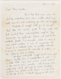 Books:Art & Architecture, Charles Burchfield. Autograph Letter, Signed. [No place: January 7, 1956]. Original letter by the American landscape painter...