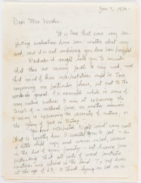 Charles Burchfield. Autograph Letter, Signed. [No place: January 7, 1956]. Original letter by the American landscape