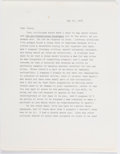 "Books:Literature 1900-up, [Henry Miller]. Norman Mailer. Typed Letter Signed ""Norman"". May25, 1976. Four pages...."