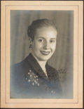 Books:World History, Eva Perón. Portrait Photograph, Signed. [No place (presumed Buenos Aires)]: 1951. Original silver gelatin photograph, inscri...