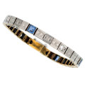 Estate Jewelry:Bracelets, Art Deco Diamond, Sapphire, Platinum-Topped Gold Bracelet. ...