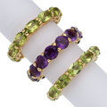 Estate Jewelry:Rings, Peridot, Amethyst, Gold Eternity Bands. ... (Total: 3 Items)
