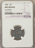 Seated Dimes, 1886 10C -- Cleaned -- NGC Details. UNC. NGC Census: (2/511). PCGS Population: (5/543). MS60. Mintage 6,376,684....
