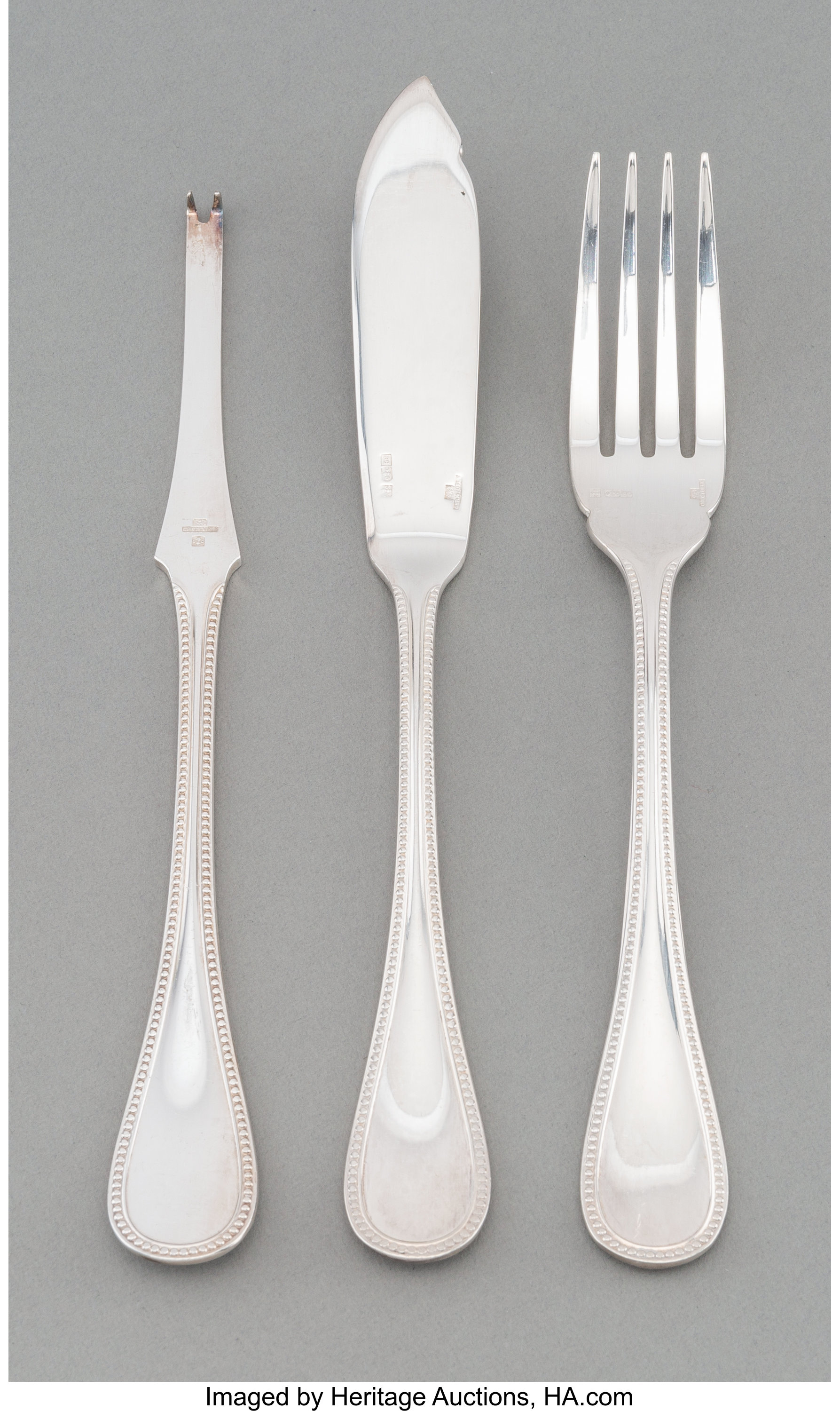 """PERLES by CHRISTOFLE Silverplate 7 3//4""""Fish Knives Set Of 10"""