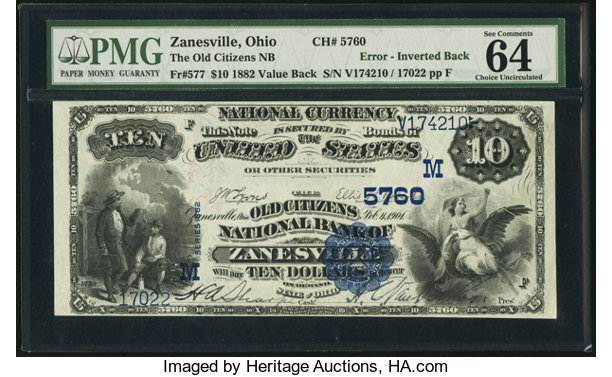 Zanesville, OH - $10 1882 Value Back Fr  577 The Old