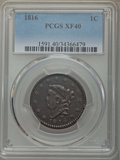 Large Cents: , 1816 1C XF40 PCGS. PCGS Population: (28/276). NGC Census: (8/150). CDN: $220 Whsle. Bid for problem-free NGC/PCGS XF40. Min...