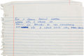 "Music Memorabilia:Autographs and Signed Items, Stevie Ray Vaughan Handwritten Lyrics for ""Long Way From H..."