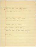 """Music Memorabilia:Autographs and Signed Items, Stevie Ray Vaughan Handwritten Lyrics For """"Telephone Song"""" From TheVaughan Brothers Album Family Style, 1990...."""