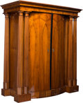 Furniture : Continental, An Austro-Hungarian Biedermeier Architectural Walnut Armoire, circa1820. 77 h x 69 w x 29-1/2 d inches (195.6 x 175.3 x 74.... (Total:25 Items)