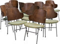 Furniture , Twelve Ib Kofod-Larsen Upholstered Beech and Enameled Steel Penguin Chairs, circa 1955. 32-1/4 h x 21-1/2 w x 21... (Total: 12 Items)