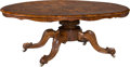 Furniture : Continental, A Victorian Inlaid and Burled Walnut Oval Coffee Table, 19thcentury. 21-1/4 h x 57 w x 41 d inches (54.0 x 144.8 x 104.1 cm...