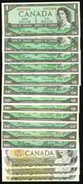 Canadian Currency: , An Assortment of Canadian Bank of Canada $1 Notes from the 1954,1967, and 1973 Issues.. ... (Total: 15 notes)