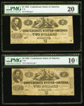 Confederate Notes:1862 Issues, T42 $2 1862 PF-1 Cr. 334 and PF-5 Cr. 337.. ... (Total: 2 notes)