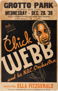 Music Memorabilia:Posters, Ella Fitzgerald/Chick Webb Grotto Park Concert Poster (1938). Extremely Rare....