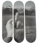 Prints & Multiples, Ai Weiwei (Chinese, b. 1957). The White House, from Fuck Off series, triptych, 2017. Screenprints on skate decks... (Total: 3 Items)