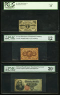 Fractional Currency:Third Issue, Fr. 1226 3¢ Third Issue PCGS Very Fine 25;. Fr. 1230 5¢ First IssuePMG Fine 12;. Fr. 1376 50¢ Fourth Issue Stanton PM... (Total: 3notes)