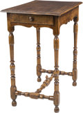 Furniture , A William & Mary-Style Walnut Side Table, 19th century. 25-3/4 h x 22-1/2 w x 15-1/2 d inches (65.4 x 57.2 x 39.4 cm). ...