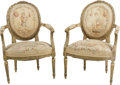 Furniture : French, A Pair of Louis XVI-Style Giltwood and Aubusson-UpholsteredFauteuils, 19th century. 37 h x 24-1/2 w x 13 d inches (94.0 x 6...(Total: 2 Items)