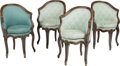 Furniture , Four French Provincial-Style Petit Bergères, 19th century. 33-1/4 h x 22-1/4 w x 20 d inches (84.5 x 56.5 x 50.8 cm). ... (Total: 4 Items)