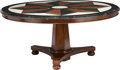 Furniture : Continental, A Large Empire-Style Center Table with Marble Top, 21st century. 30inches high x 66-1/4 inches diameter (76.2 x 168.3 cm). ...