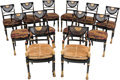 Furniture , Twelve Regency-Style Caned, Ebonized and Giltwood Dining Chairs. 34-1/2 h x 21-1/2 w x 21 d inches (87.6 x 54.6 x 53.3 cm) (... (Total: 12 Items)