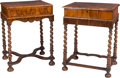 Furniture , Two William & Mary-Style Walnut Side Tables, 18th century. 28-3/4 h x 21-1/8 w x 16-7/8 d inches (73.0 x 53.7 x 42.9 cm). ... (Total: 2 Items)